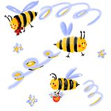 Flying bees with flowers and spiral movement. Fly curls. Funny insects cartoon characters for pattern, design, fabric, textile, kids room interior, bed linen stock illustration