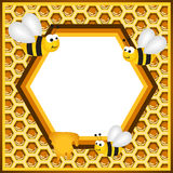 Flying Bees in a Honeycomb Frame Royalty Free Stock Images