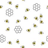 Flying bees and honeycombs seamless pattern. Flying bees and honeycombs seamless pattern vector illustration