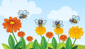 A flying bees Stock Illustration