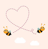 Flying bees making big love heart in the air. Bees making love heart. Vector cartoon Illustration Royalty Free Stock Photos