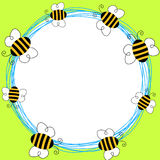 Flying Bees Round Frame Royalty Free Stock Photos