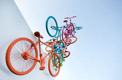 Flying bicycles Stock Photo