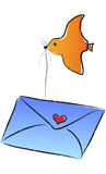 A flying bird carries an envelop Stock Photo