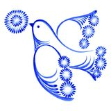 Flying bird with flower. Hand drawn, illustration in Ukrainian folk style Stock Photography