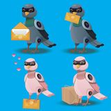 Flying bird with postal envelope in mouth Royalty Free Stock Image