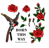 Flying bird and red roses stickers for embroidery or print elements. Stock Photos
