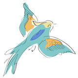 Flying bird , sketch, outline, background. Background Stock Images