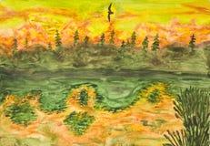 Flying bird on sunset, painting Stock Image