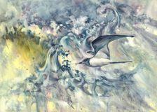 Flying bird in the waves watercolor background Royalty Free Stock Photography