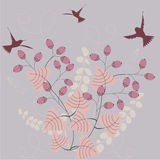 Flying birds. Birds fluings above a bush with berries - seasonal illustration royalty free illustration