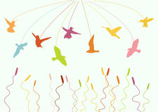 Flying birds. With cool color of illustration Stock Illustration