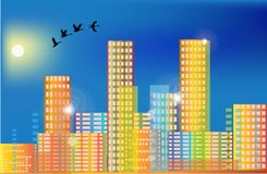 Flying birds above rainbow color city Royalty Free Stock Photo