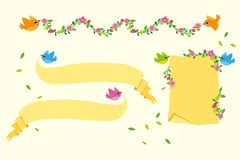 Flying birds with Banners Vector Set royalty free stock photography
