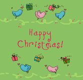 Flying birds christmas card. Sweets flying birds and colored gifts for a special Christmas card. Digital colors Royalty Free Stock Photography