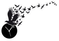Flying birds with clock, vector vector illustration