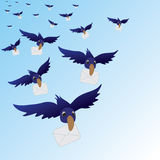 Flying birds with envelopes Stock Image
