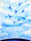 Flying birds free, relax mind with open sky, abstract watercolor painting Royalty Free Stock Photography