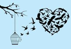 Flying birds heart, vector. Flying birds in heart shape with birdcage and tree, vector illustration stock illustration
