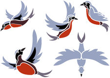 Flying Birds Icons Stock Image