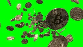 Flying through Bitcoins on Green. Bitcoin is a digital currency, so this digital image of Bitcoin is perfect for any project. This clip is part of a massive