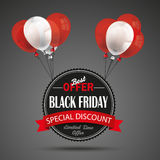 Flying Black Friday Emblem Balloons Stock Photos