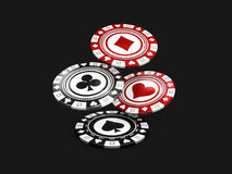Flying Black and Red Casino Chips. 3d illustration isolated black Royalty Free Stock Images