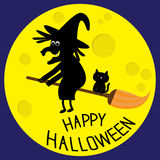 Flying black witch and cat. Big moon. Happy Halloween card. Flat design. Stock Photos