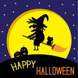 Flying black witch and cat. Big moon. Happy Hallow. Een card. Vector illustration Stock Photo