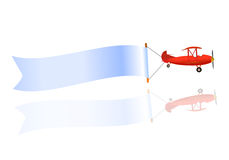 Flying blank banner and airplane Stock Photos