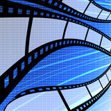 Flying blank film strip with digit background. Film industry concept Royalty Free Stock Images