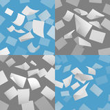 Flying blank paper sheets vector set Royalty Free Stock Images