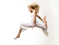 Flying blond girl Royalty Free Stock Image