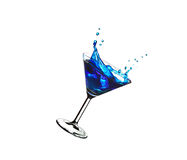 Flying blue cocktail Stock Photography