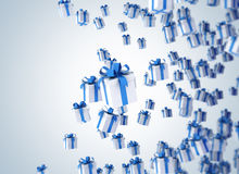 Flying blue gift boxes Royalty Free Stock Images