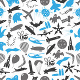 Flying blue and gray theme theme symbols and icons seamless pattern eps10. Flying blue and gray theme theme symbols and icons seamless pattern Royalty Free Stock Photography
