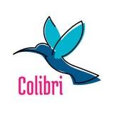 Flying blue hummingbird bird symbol Stock Photos