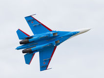 Flying blue military Su-27 Royalty Free Stock Image