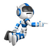 Flying Blue Robot carrying a Briefcase. Create 3D Humanoid Robot Royalty Free Stock Photo