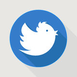 Flying blue twitter bird. Icon Royalty Free Stock Photography