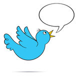 Flying Bluebird with Bubble. Flying tweeting bluebird with blank speech bubble for your text.  EPS8 Royalty Free Stock Photos