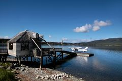 Flying boat on the Lake Te Anau Stock Image
