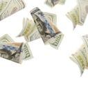 Flying  bonds Of One Hundred Dollar Bills. Abstract money background Stock Photo