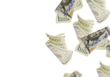 Flying  bonds Of One Hundred Dollar Bills. Abstract money background Stock Photography