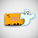 Flying Boo ghost wishing Happy Halloween Stock Images