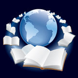 Flying books. Open books are flying around earth globe in space Royalty Free Stock Images
