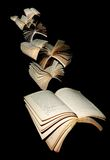 Flying books. Over great minds Royalty Free Stock Images