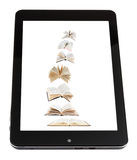 Flying books on screen of tablet pc isolated Stock Photos