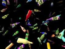 Flying bottles generated 3D background. Flying bottles generated 3D on black background Stock Photography