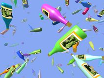 Flying bottles generated 3D background Royalty Free Stock Images
